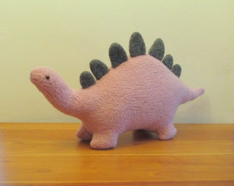 Stegosaurus Stuffed Animal, Plush Dinosaur Pink Purple Wool