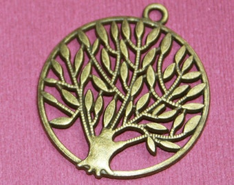 2 pcs of Antique Brass Tree of life pendant 42x37mm