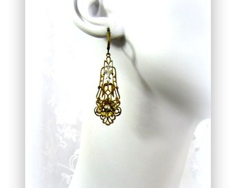 Vintage Filigree Drop Earrings with Pearl and Flower Accents