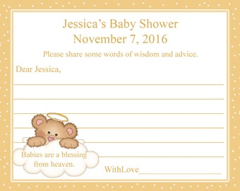 24 Personalized Baby Shower Advice Cards  -Babies Are A Blessing Advice Cards - Gender Neutral Baby Shower -Heavenly Baby Shower -Angel Baby
