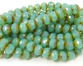 Green Aqua Opal Picasso Rondell Beads 5mm x 7mm Turquoise Czech Glass Beads 5x7mm  GR7-5  1x25