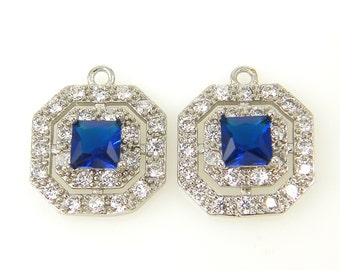 Sapphire Blue Silver White Double Halo Cubic Zirconia Earring Findings Pendant Charms |B12-7|2