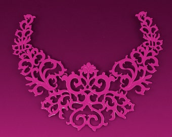 Hot Pink Lace Necklace Pendant Finding Large Breastplate Statement Jewelry Focal Point Ornate Filigree Component |LG9-5|1