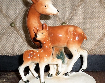 Vintage Figurine,Japan,Deer and Fawn,Doe,Porcelain