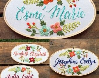 Custom Name Embroidery Hoop. Great for Nursery Decor!