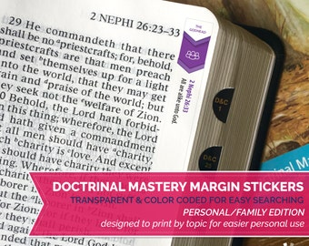 INSTANT DOWNLOAD - Doctrinal Mastery Margin Stickers - Personal Family Edition - Full Set by Topic