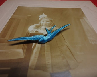 Antique Enameled Blue Swallow Bar Pin
