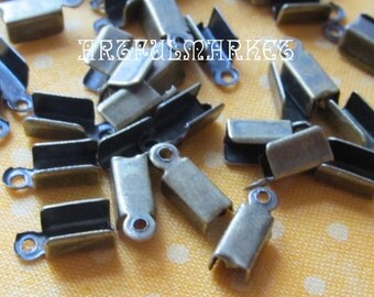 Antique Brass Cord Ends, Fold Over Ends, Bronze leather ends,Brass Leather Ends,Crimp Ends,Small Cord Ends,24-50 pcs.