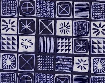 Cotton + Steel Bluebird Tiles 100% Cotton Fabric Navy and White