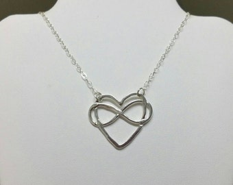 Infinity Heart Necklace, Eternity Jewelry, Lovers Heart Pendant, Heart Necklace, Boho Infinity Necklace Handmade by Maggie McMane Designs