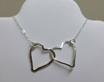 2 Hearts Necklace, Silver Connected Hearts, Heart Pendant, Joined Hearts Necklace, Linked Silver Hearts Necklace by Maggie McMane Designs
