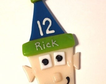 """12th Elf Ornament in Fused Glass, Handcrafted, 3"""" x 4"""", Seattle Christmas Ornament, FREE shipping to U.S. GO HAWKS!"""