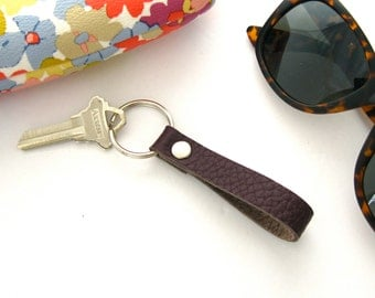 Purple Leather Keychain, Pebbled Leather Fob, Loop Style Key Ring, Handmade Leather Key Ring, Classic Key Fob, Women's Keychain