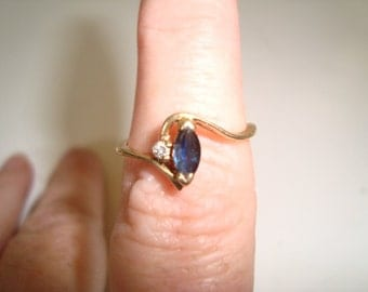 14 K Gold, Diamond and Sapphire Ring