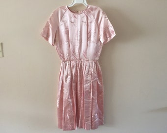 vintage pink silk dress sz XS/S for repair or upcycle