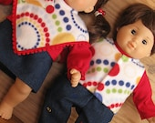 Bitty or Bitty Twin Doll Clothes - Boy Girl Twins ABC 123 Denim Pants and Skirt, Red Turtlenecks, Vest and Poncho - 6 pieces