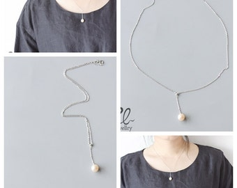 Delicate Sterling Silver Chain with Round White Fresh Water Pearl Drop (N127)