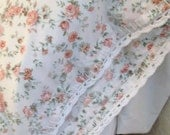 Vintage Pillowcase White Pretty Peach Flowers Crocheted White Trim Shabby Chic Standard Size