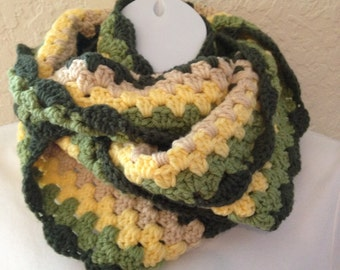 Super Cowl Crocheted Granny Stripe Shades of Green Yellow Tan Infinity Scarf Adult Woman Teen  Girl Unisex Warm Winter Gift