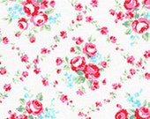 White Pink Red Lattice Rose Floral 31269 10 Fabric by Lecien Flower Sugar
