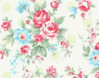 SALE Green Polka Dot Roses 31265 60 by Lecien Fabrics Princess Rose Clearance