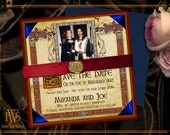 Medieval Illuminated Manuscript Save the Date Card