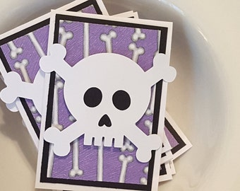 Skull and Crossbones Mini Note Card Set in Purple, Black and White