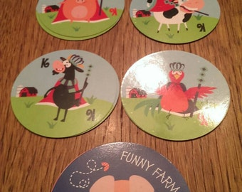 Funny Farm  Round Playing Cards Deck of Cards plus extras