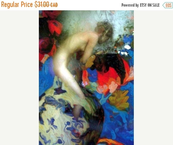 On Sale Fine Art Print, Giclee Archival Print, Photomontage, Collage, Painted Photographs, Surrounded by Flowers