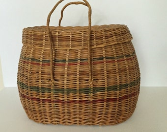 antique large native american hand woven lidded basket