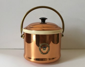 vintage copper and brass ice bucket, US Army war College