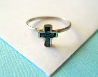 Vintage Native American Cross Sterling Ring Size 4