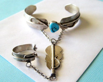 Navajo Sterling Silver and Turquoise Slave Bracelet