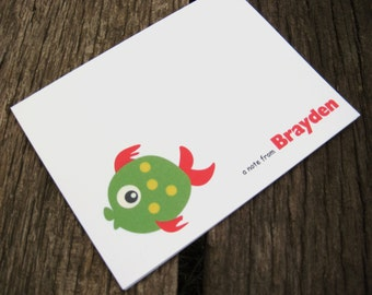 Green Fish Note Cards - Set of 8 Personalized - Beach Note Cards - Summer Note Cards