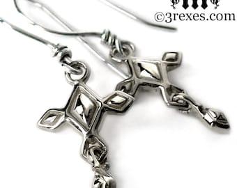 Silver Cross Earrings Tiny Renaissance Charms