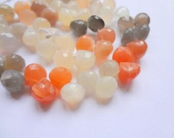 9mm Faceted Onion Briolette Teardrop Moonstone Gemstone Beads - Half Strand 31pc