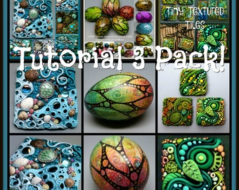 Tutorial 3 Pack Special, Inchies, Tidepool Suncatcher and Beautiful Painted Eggs,  3 PDF Tutorials, Bundle Price