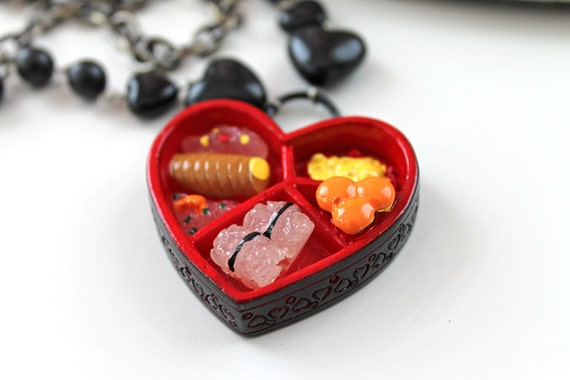 Heart bento double  chain necklace Gothic lolita red black kawaii