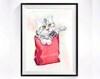 32. Original Kitty Art Original painting Framed Tabby Cat wall art Cat lover's gift Striped cat Gift for her 8 x 10 OR