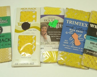 Vintage Yellow Ric Rac Ribbon And Trim Collection