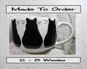 Black Cat Trio Jumbo Soup or Latte Mug Handmade Earthenware Ceramic by GMS