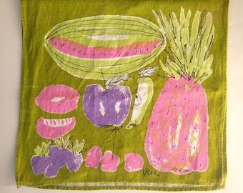 60s 70s Vera linen tea towel / PINK PINEAPPLES / Vera Neumann dish towel / lime purple pink fruit / 15x28