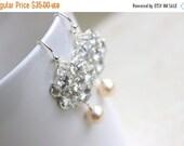 Clearance SALE Bridal Earrings Swarovski Pearl CZ Sterling Silver Chandelier AE1