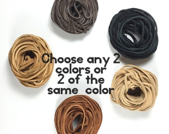 suede cording 3/32 or 2mm. choose from 5 colors, Bracelet leather, necklace leather Soft supple 25 ft each, choose 2 bundles. tribal jewelry