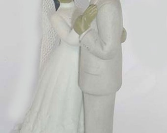 Black Bride and Groom 1988 -  Figure by Lefton - Bisque - Lefton Label and Markings