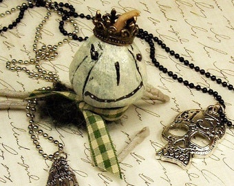 layered metal necklaces 13 skull skeleton hand pendants black silver Halloween jewelry