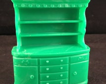 Vintage Superior Brand Green Plastic Hutch or China Cabinet Doll House Furniture