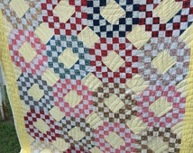 Vintage Ocean Waves Quilt with Feedsack Fabrics Set in Yellow Kentucky Made