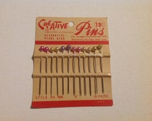 Set of 12 Vintage New on Card Decorative Pearl Head Creative Pins with Pastel Tops (Great for Corsages)