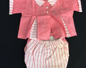 Vintage Baby Girls Pink and White Stripe Top and Rubber Panties
